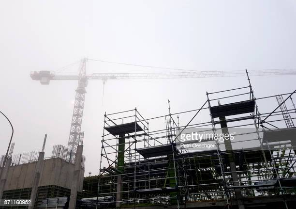 construction in the fog. - sandton stock pictures, royalty-free photos & images