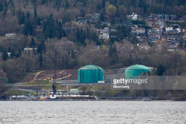 Construction is seen at the Kinder Morgan Inc Trans Mountain Westridge Marine Terminal in Burnaby British Columbia Canada on Wednesday April 11 2018...