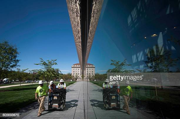 Construction is still underway during a press preview at the Smithsonian's National Museum of African American History and Culture in Washington DC...