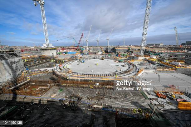 Construction is underway on the circular concrete bed of what is known as 'Nuclear Island' where the nuclear reactor will be housed at the EDF Energy...
