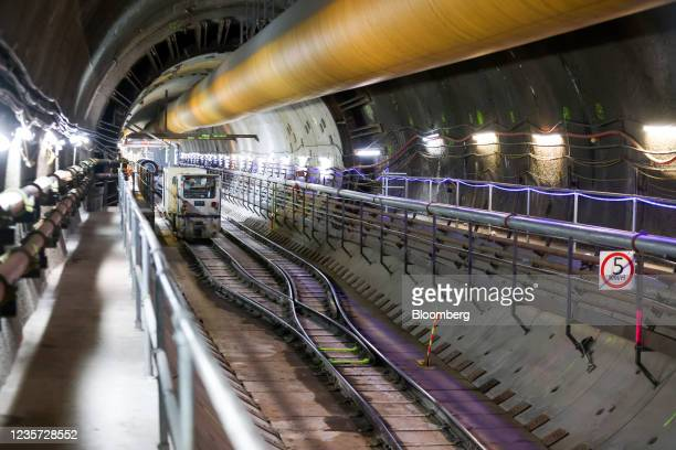 Construction locomotive train in the main tunnel at the Thames Tideway Tunnel super sewer construction project in London, U.K., on Wednesday, Oct. 6,...