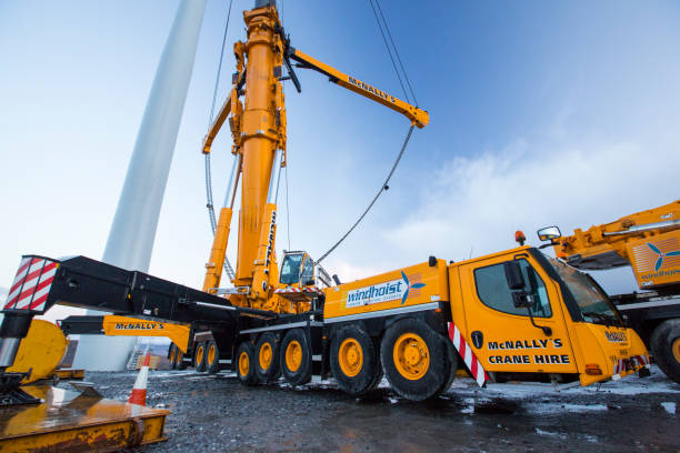Construction machinery at Loch Luichart a 69 MW wind farm on remote wilderness moorland near Garve in the North West Highlands of Scotland.