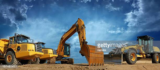 construction machines ready to work - excavator stock photos and pictures