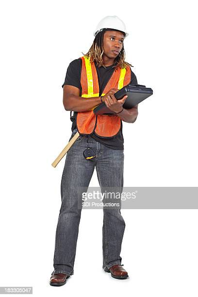 Construction Man Writing and Looking Up, Isolated on White