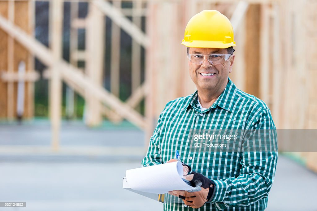 Construction manager at work site : Stock Photo