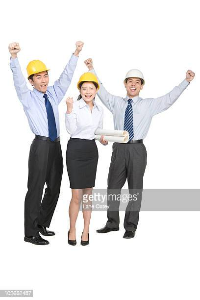 Construction managers in hard hats
