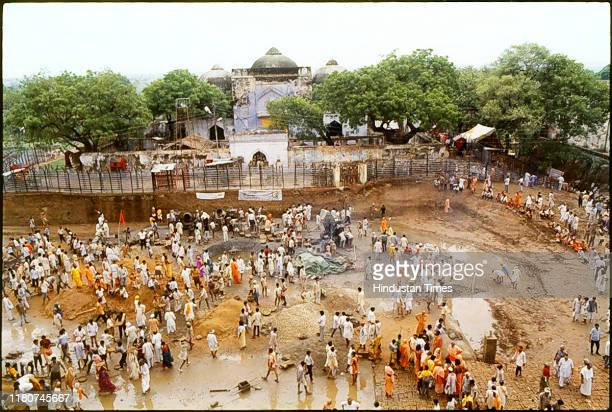 Construction material at the Babri MasjidRam Janmabhoomi complex as Kar Sevaks constructing platform for Puja