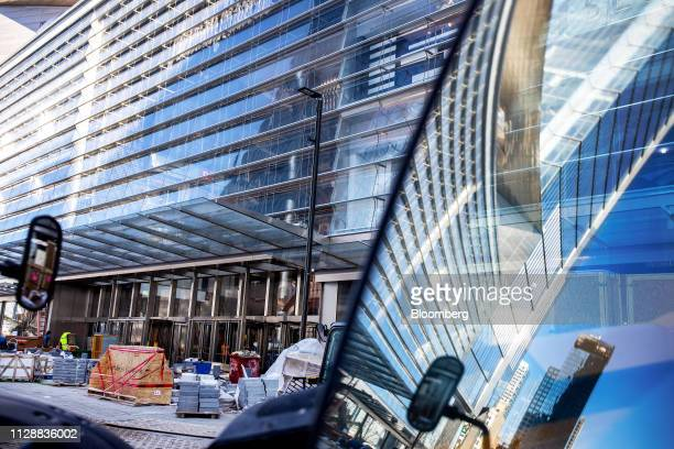 Construction material sits outside the retail entrance at the Hudson Yards development in New York US on Tuesday March 5 2019 Driving the $25 billion...
