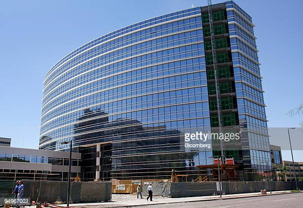 Construction nears completion on a new office building near 24th Street and Camelback Road in Phoenix Arizona US on Tuesday Aug 18 2009 The housing...