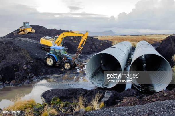 construction of a bridge at vik, south iceland - bridge built structure stock pictures, royalty-free photos & images