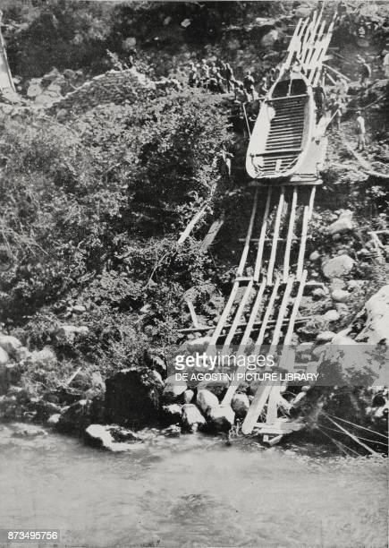 Construction of a bridge over the Isonzo to the north of Anhovo Slovenia XI Battle of the Isonzo World War I from L'Illustrazione Italiana Year XLIV...