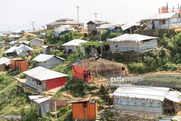 Kutupalong Ukhiya near Cox´s Bazar Bangladesh October 16 2018 Construction of a hut made of bamboo in the refugee camp of the Rohingya people near...