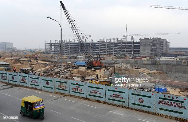 Construction of a multilevel parking back in progress at Terminal 3 of the Indira Gandhi International airport and Delhi Metro�s Airport Express Link...