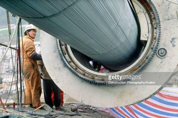Construction of a new bridge over the Yangtse River, China.
