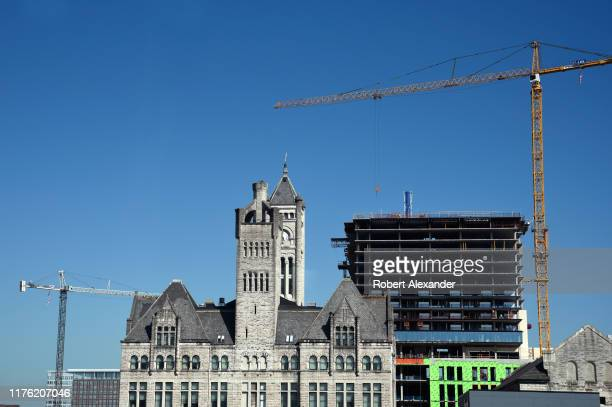 Construction of a new Grand Hyatt Hotel near the historic Union Station in Nashville, Tennessee, is part of the city's extensive Nashville Yards...