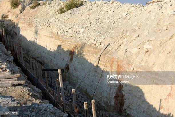 A construction of an emplacement is seen after Turkish Armed Forces and Free Syrian Army cleared Dikmetas village in the town of Sharan and Mount...