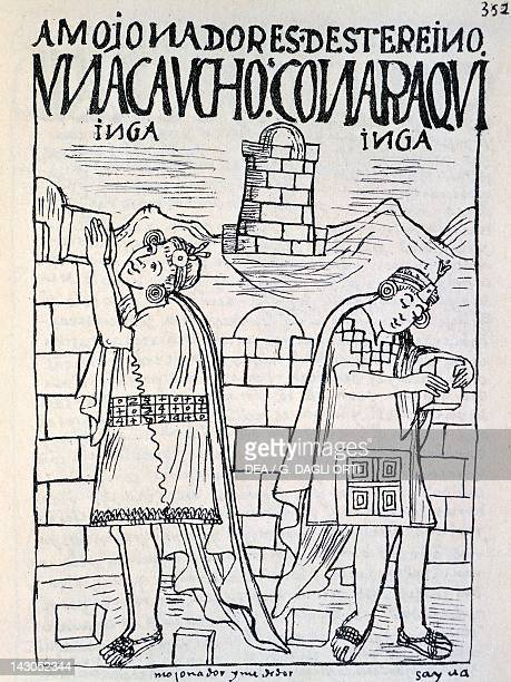 Construction of barns Inca public and religious buildings Engraving from New Chronicle and Good Government by Felipe Guaman Poma de Ayala 1587...