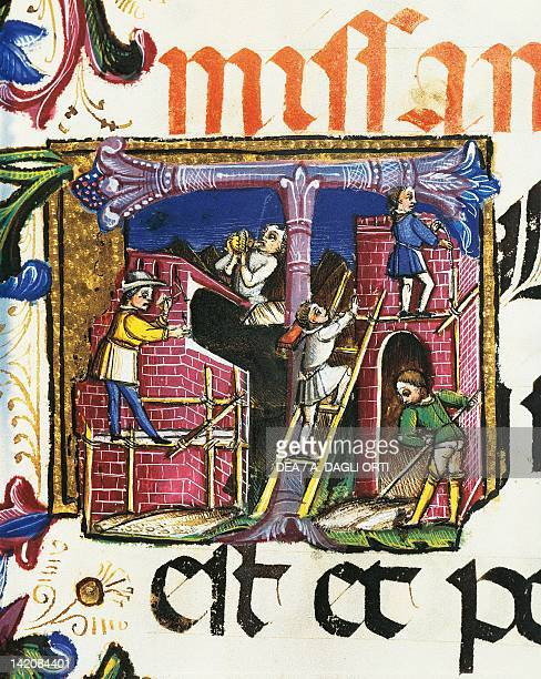 Construction of buildings miniature from a Roman Missal Italy 15th Century