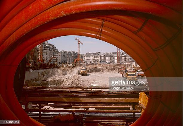 Construction Of Centre Georges Pompidou In Paris France In 1975 Work on the Plateau Beaubourg