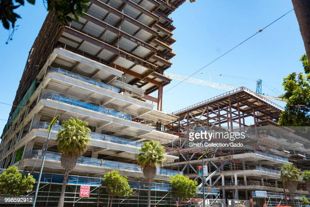 Construction of Chase Center and surrounding buildings, the new home of the Golden State Warriors basketball team, in the Mission Bay neighborhood of...