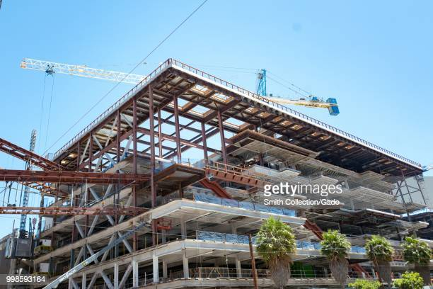 Construction of Chase Center and surrounding buildings the new home of the Golden State Warriors basketball team in the Mission Bay neighborhood of...