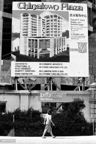 Construction of Chinatown Plaza replaces shophouses on the corner of Neil Rd and Craig Rd Chinatown Singapore 12 July 1983