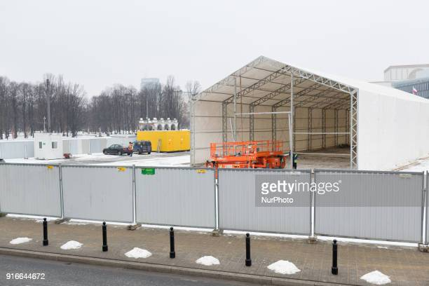 Construction of controversial monument to the victims of the Smolensk crash on Pilsudski Square in Warsaw Poland on 9 February 2018 Work has begun on...