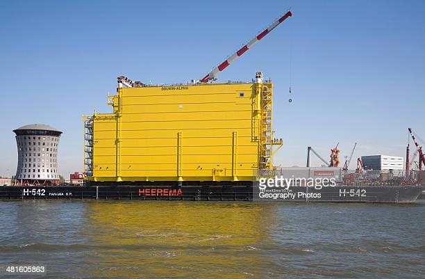 Construction of Dolwin Alpha converter platform station for offshore North Sea wind industry Port of Rotterdam Netherlands
