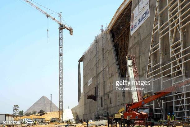 Construction of Grand Egyptian Museum continues on June 10 2018 in Giza Egypt