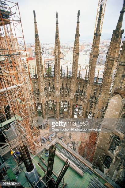 Construction of hollow stone columns with reinforcement for concrete Sagrada Familia Cathedral Designed by Antoni Gaudi Barcelona Catalunya Spain