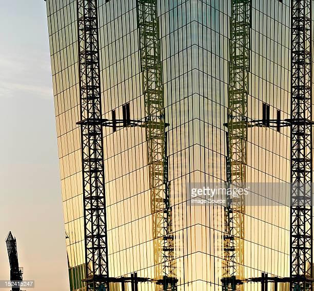 Construction of new European Monetary Bank at sunset, Frankfurt, Hesse, Germany