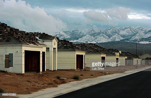 Construction of new homes has temporarily halted in Mesquite Nev a casino town just south of the Utah border and about 80 miles northeast of Las...