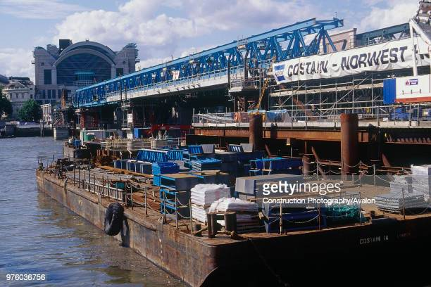 Construction of new Hungerford footbridge over the River Thames London United Kingdom