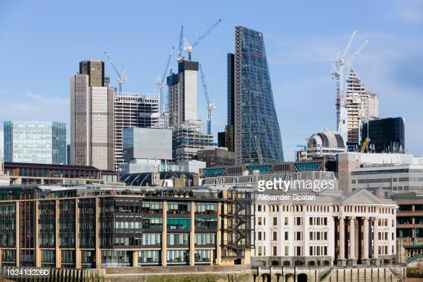 Construction of new skyscrapers in financial district of City of London, England, UK
