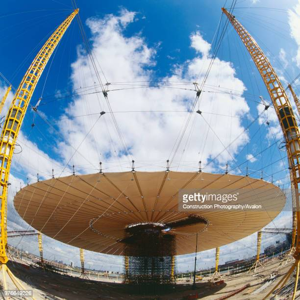 Construction of roof structure of Millennium Dome, Greenwich, London, UK, 1999.