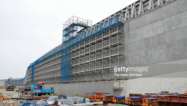 Construction of the 22 metres tall giant breakwater continues at the Chubu Electric Power Co's Hamaoka Nuclear Power Plant on May 12 2015 in Omaezaki...