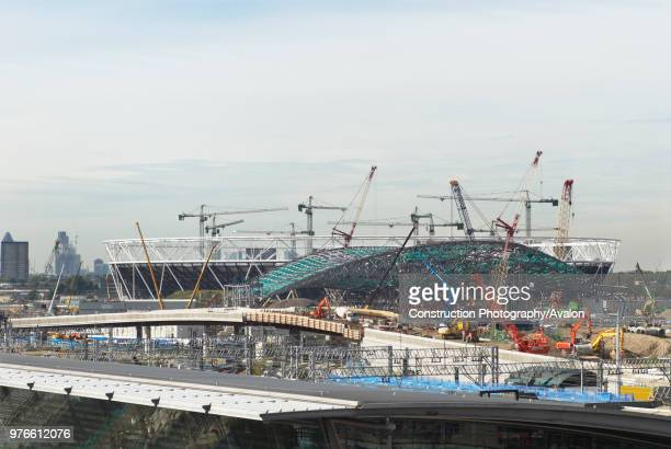 Construction of the Aquatic Centre and Olympic Stadium, Stratford, East London, UK.