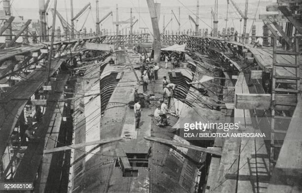 Construction of the Caio Duilio battleship July 24 at Castellammare di Stabia's yards in Italy photograph by Giuseppe Garzia from L'Illustrazione...