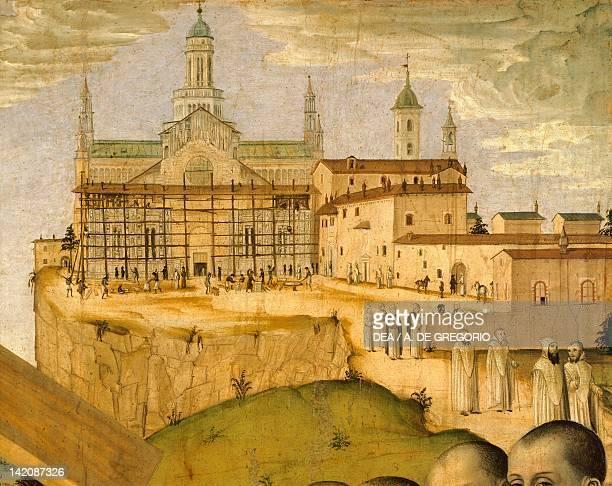 Construction of the Certosa di Pavia, by Ambrogio da Fossano known as Bergognone , Italy 15th Century. Detail.