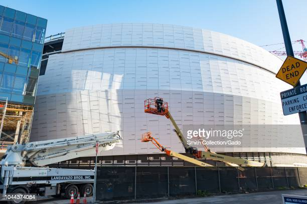 Construction of the Chase Center arena the new home of the Golden State Warriors basketball team in the Mission Bay neighborhood of San Francisco...