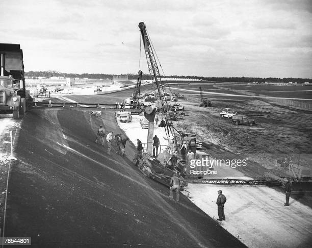 Construction of the Daytona International Speedway in Daytona Beach Florida in 1958 during the asphalt stages The foresight of Bill France Sr is...