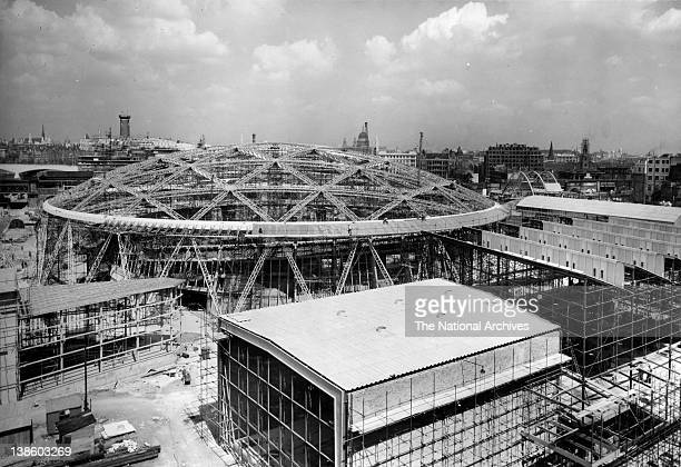 Construction of the Dome of Discovery Festival of Britain 4 August 1951