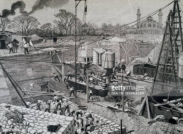 Construction of the Eiffel Tower in Paris 1889 France 19th century