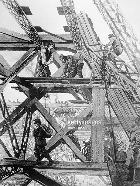 Construction of the Eiffel Tower in progress The tower was built for the Paris Exhibition of 1889