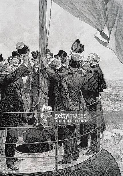 Construction of the Eiffel Tower the designer Gustave Eiffel hoisting the flag on top of the Tower April 1889 engraving France 19th century