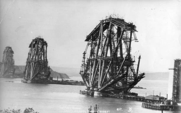 Construction of the Forth Bridge, on the Firth of Forth...
