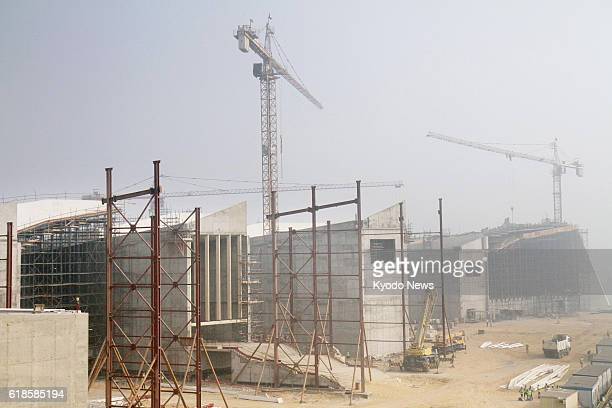 Construction of the Grand Egyptian Museum is underway near the Pyramids of Giza Egypt on Oct 24 2016 Japan has decided to extend a total of 494...