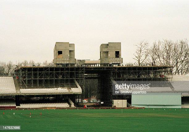 Construction of the new Media Centre at Lord's cricket ground in London circa 1997