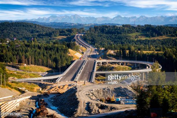 construction of the new s7 highway, poland - malopolskie province stock pictures, royalty-free photos & images