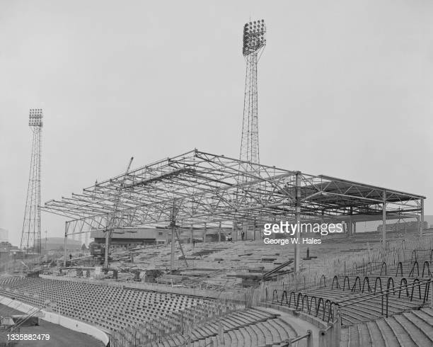 Construction of the new West Stand nearing completion at Stamford Bridge, home of Chelsea Football Club in the borough of Chelsea in London, England,...